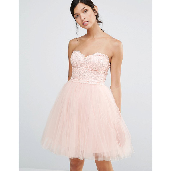 LITTLE MISTRESS Prom Dress With Lace Body - Dress by Little Mistress, Lined crochet lace bodice,...