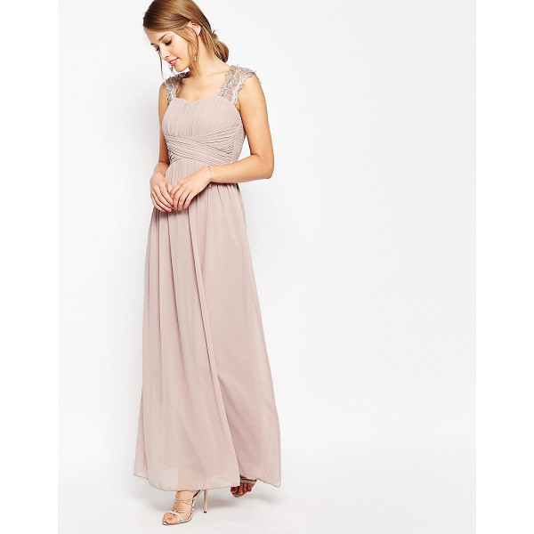 LITTLE MISTRESS Ruched Bodice Maxi Dress With Lace Sleeves - Maxi dress by Little Mistress, Lined chiffon, Sweetheart...