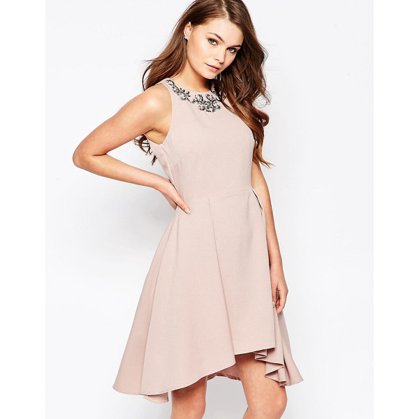 LITTLE MISTRESS Structured skater dress with embellished neck - Dress by Little Mistress, Structured woven fabric, Fully...