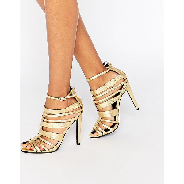 LITTLE MISTRESS Taylor Multi Strap Heeled Sandals - Shoes by Little Mistress, Gold-tone leather-look upper,...