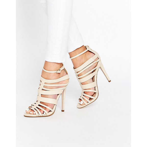 LITTLE MISTRESS Taylor Multi Strap Peep Toe Heeled Sandals - Shoes by Little Mistress, Faux leather upper, Multi-strap...