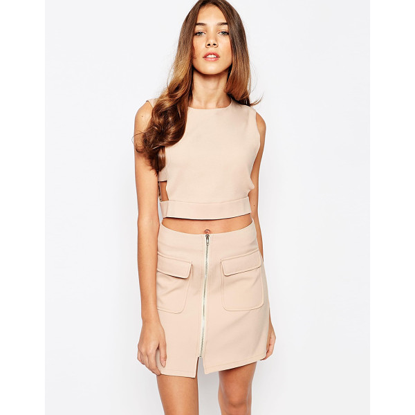 LOLA MAY Crop Top with Cut Out - Top by Lola May, Lightweight woven fabric, Smooth finish,...