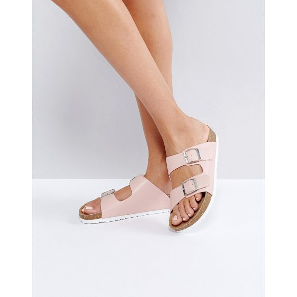 LONDON REBEL Double Buckle Flat Sandal - Shoes by London Rebel, Faux-leather upper, Slip-on style,...