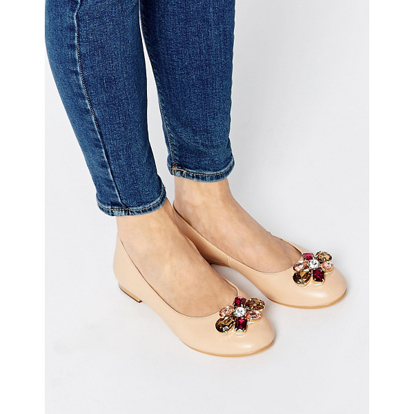 LONDON REBEL Gemma embellished ballet flats - Shoes by London Rebel, Smooth faux leather, Faceted stones,...