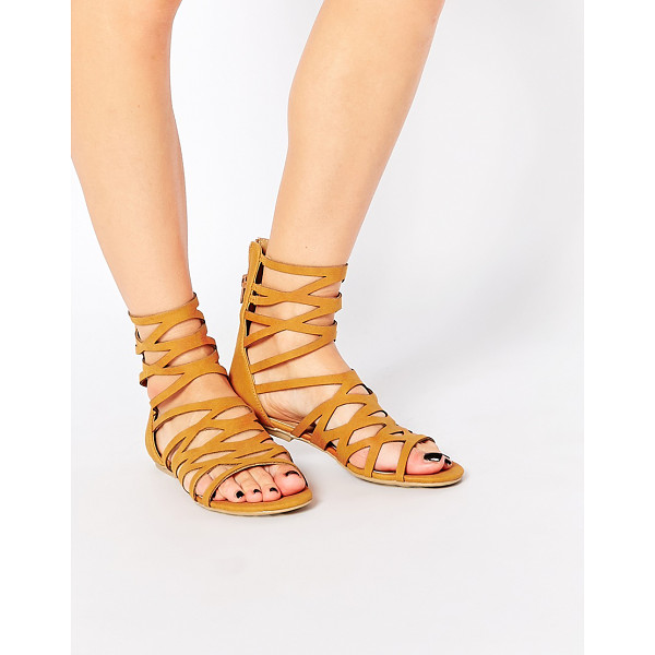 LONDON REBEL Gladiator Flat Sandals - Shoes by London Rebel, Leather-look upper, Gladiator...