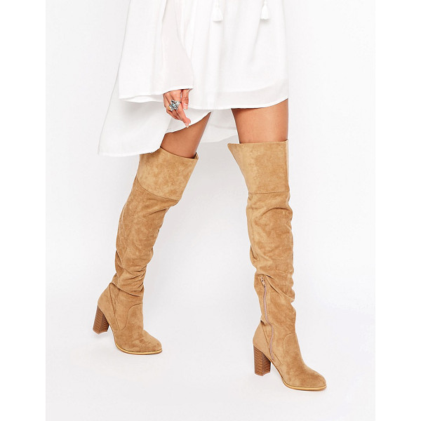 LONDON REBEL Heeled Over The Knee Boots - Shoes by London Rebel, Faux-suede upper, Over-the-knee...