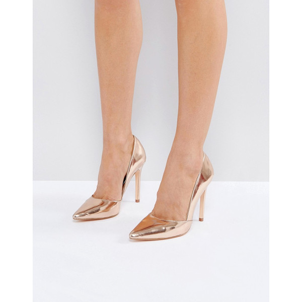 LONDON REBEL Pointed Metallic Court Shoe - Shoes by London Rebel, Metallic faux-leather upper, Pointed