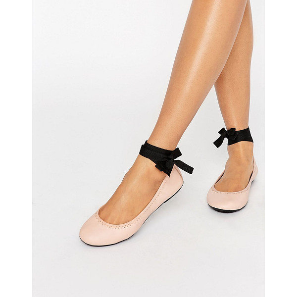 LONDON REBEL Tie Up Leather Ballerina - Shoes by London Rebel, Leather upper, Ribbon tie fastening,...