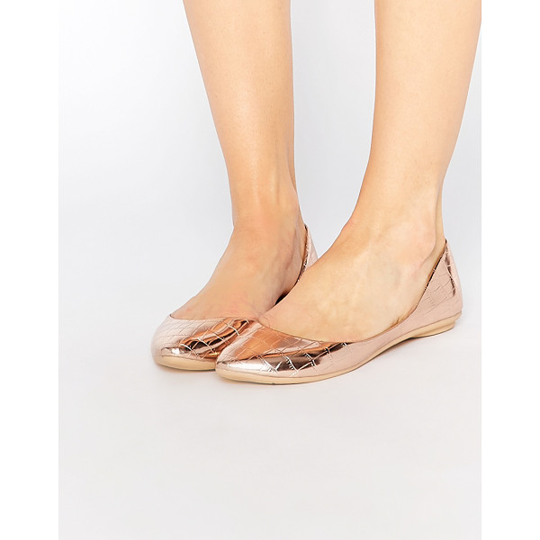 LOST INK Bea rose gold textured ballerina flat shoes - Ballet pumps by Lost Ink. Metallic, leather-look upper...