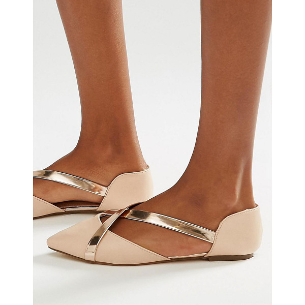 LOST INK Beau nude metallic cross strap flat shoes - Flat shoes by Lost Ink. Faux-leather upper Part leather...