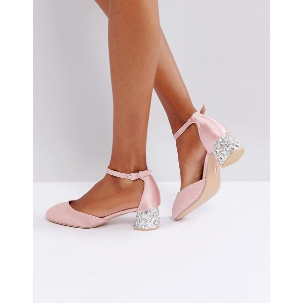 """LOST INK Blush Satin Embellished Mid Heeled Shoes - """"""""Shoes by Lost Ink, Satin upper, Ankle-strap fastening,..."""