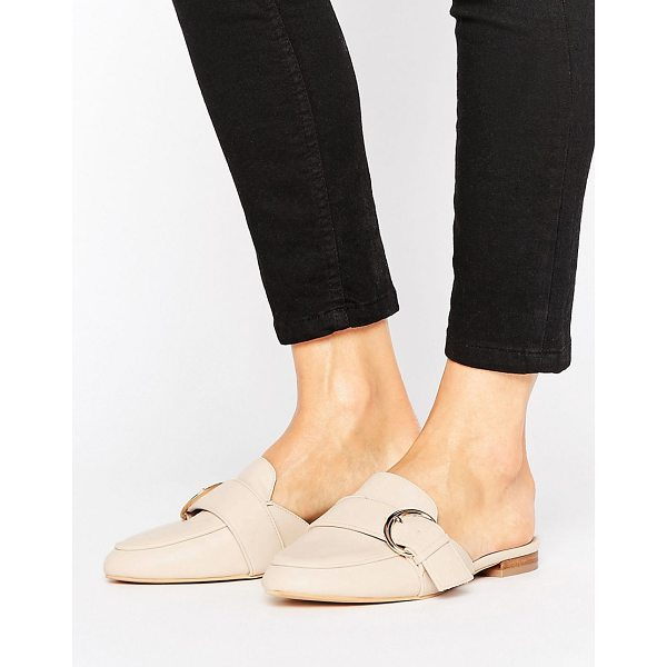 LOST INK Buckle Backless Mule Loafers - Shoes by Lost Ink, Faux-leather upper, Slip-on design,...