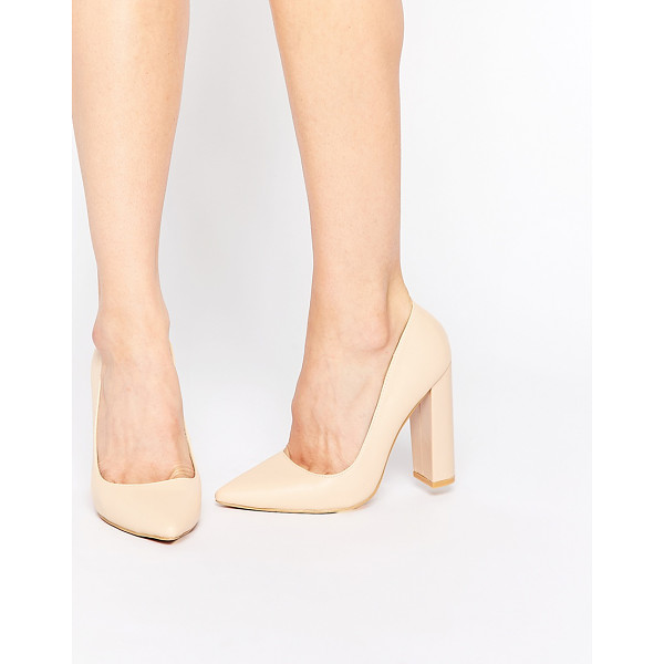 LOST INK Carlita Nude Shine Block Heel Pumps - Heels by Lost Ink, Smooth, leather-look upper, Slip-on...