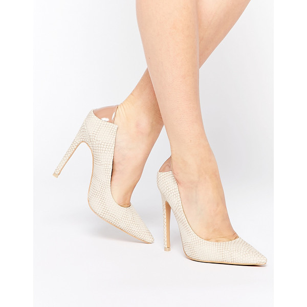 LOST INK Christen natural snake effect pointed pumps - Shoes by Lost Ink. Textured snake effect Point toe Contrast...