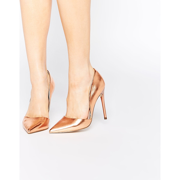 LOST INK Cleo rose gold high heeled pumps - Shoes by Lost Ink. Metallic rose-gold finish Sharp point...