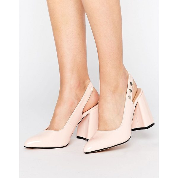 """LOST INK Fatima Pink Slingback Block Heeled Shoes - """"""""Heels by Lost Ink, Faux-leather upper, Elasticated..."""