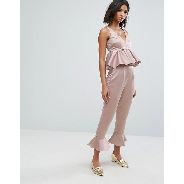 "LOST INK Pants With Peplum Hem Co-Ord - """"Pants by Lost Ink, Smooth satin-style fabric, High-rise..."