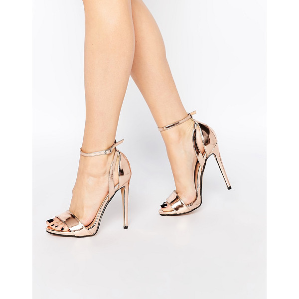 LOST INK Raula Rose Gold Two Part Heeled Sandals - Sandals by Lost Ink, Leather-look upper, Metallic finish,...