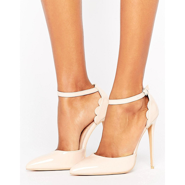 """LOST INK Scalloped Nude Patent Heeled Shoes - """"""""Heels by Lost Ink, Smooth faux-leather upper, Ankle-strap..."""