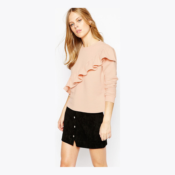 LOST INK Textured Sweat with Frill - Sweatshirt by Lost Ink, Soft-touch, ribbed knit, Textured...