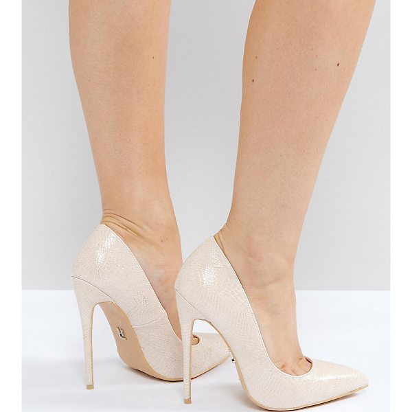 "LOST INK WIDE FIT Abby Nude Heeled Pumps - """"Heels by Lost Ink. Wide Fit, Textured upper, Slip-on..."