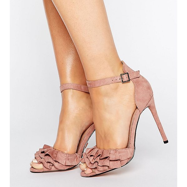 "LOST INK WIDE FIT Blush Ruffle Heeled Sandals - """"Heels by Lost Ink. Wide Fit, Faux-suede upper,..."