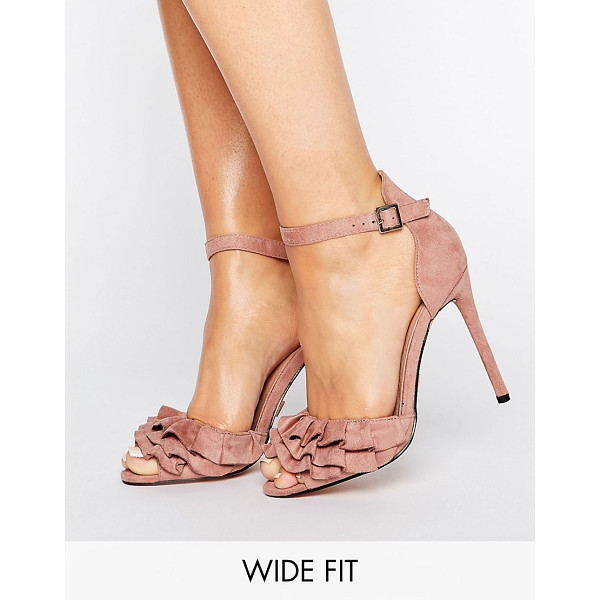 LOST INK WIDE FIT Blush Ruffle Heeled Sandals - Heels by Lost Ink. Wide Fit, Faux-suede upper, Ankle-strap