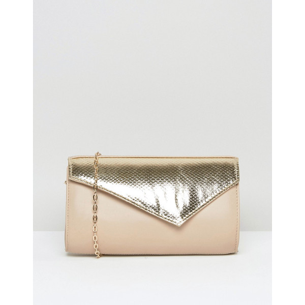 LOTUS Kinga Contrast Envelope Clutch Bag - Cart by Lotus, Leather outer, Metallic panel in croc print,...