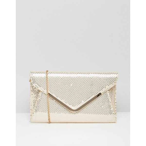 LOTUS Sequin envelope clutch bag - Cart by Lotus, Gold-tone sequinned fabric, Shoulder chain,...