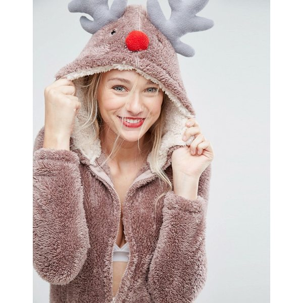 "LOUNGEABLE Brown Holidays Reindeer 3D Onesie - """"Onesie by Loungeable, Soft-touch fleece, Fixed hood, Zip..."