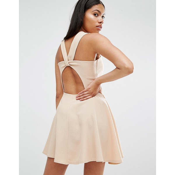 LOVE Beige Twist Back Guage Strap Skater Dress - Dress by Love, Woven fabric, Square neckline, Cut-out back...