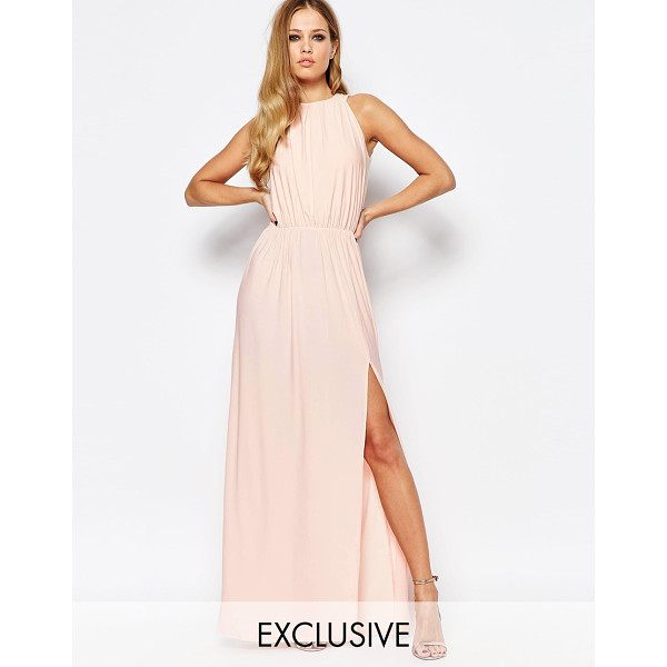 Draped Cowl Neck Dress: LOVE High Neck Cowl Back Draped Maxi Dress