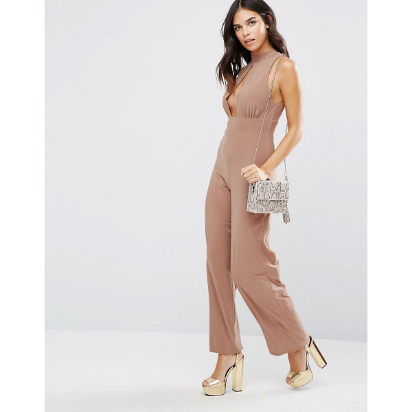 LOVE High Neck Keyhole Jumpsuit - Jumpsuit by Love, Stretch woven fabric, High neck, Keyhole...