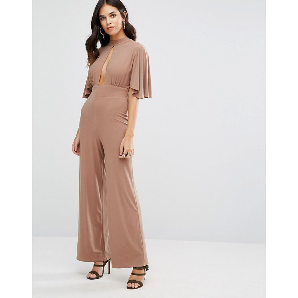 LOVE Kimono Sleeve Keyhole Jumpsuit - Jumpsuit by Love, Smooth stretch fabric, High neck, Plunge...
