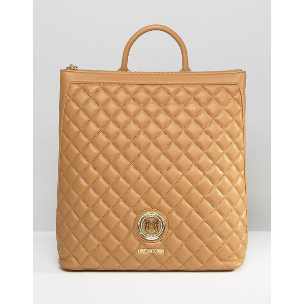 LOVE MOSCHINO Structured Quilted Backpack - Cart by Love Moschino, Quilted faux leather outer, Branded