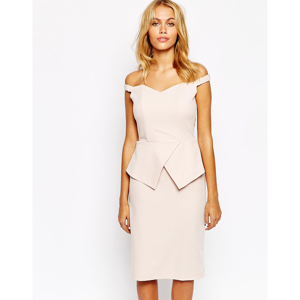 LOVE Off shoulder pencil dress with peplum - Dress by Love Woven fabric Off-the-shoulder stretch straps...