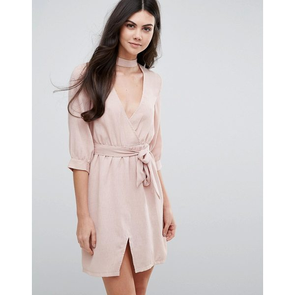 """LOVE & OTHER THINGS Belted Wrap Dress - """"""""Evening dress by Love Other Things, Woven fabric,..."""