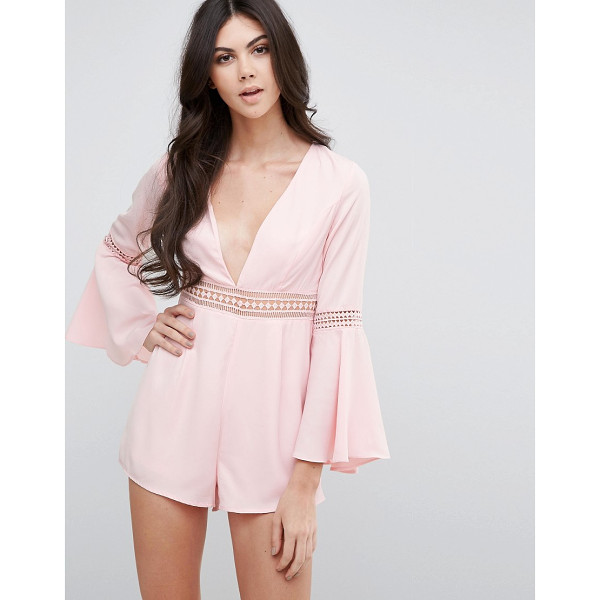 LOVE & OTHER THINGS V Neck Bell Sleeve Shift Romper - Romper by Love & Other Things, Lightweight fabric, Plunge