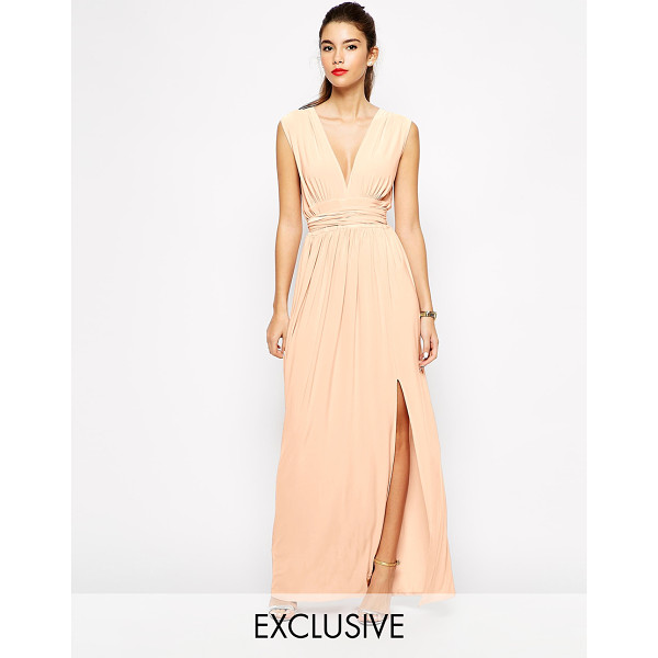 LOVE Plunge neck maxi dress with wrap belt - Maxi dress by Love Soft-touch, stretch fabric Plunge...