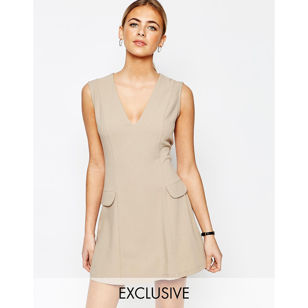 LOVE Tailored A Line Mini Dress with Pockets - Party dress by Love, Lightweight woven fabric, V-neck,...