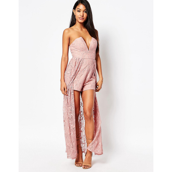 LOVE TRIANGLE Lace maxi romper - Romper by Love Triangle Lined lace Bandeau neckline Wired...