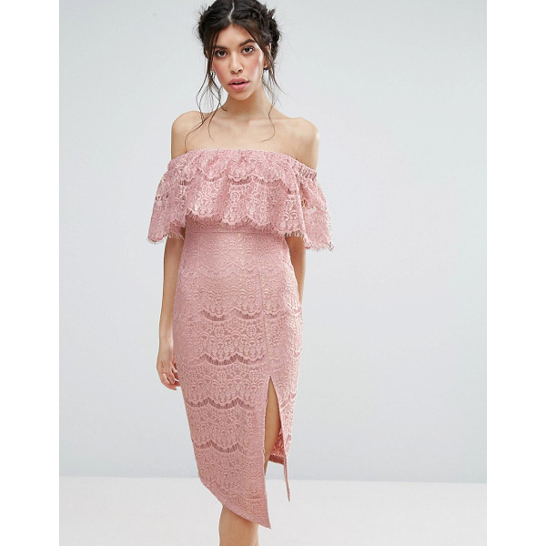 """LOVE TRIANGLE Metallic Lace Bardot Dress With Thigh Split - """"""""Dress by Love Triangle, Lined sheer lace, Off-shoulder..."""