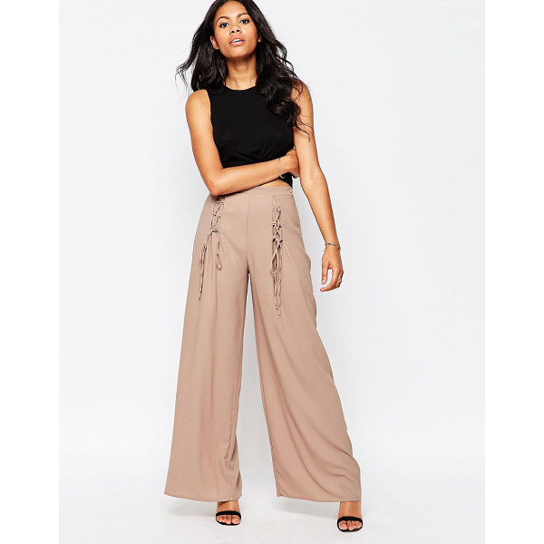 "LOVE Wide Leg Pants With Lace Up Detail - """"Pants by Love, Woven fabric, High-rise waist, Lace-up..."