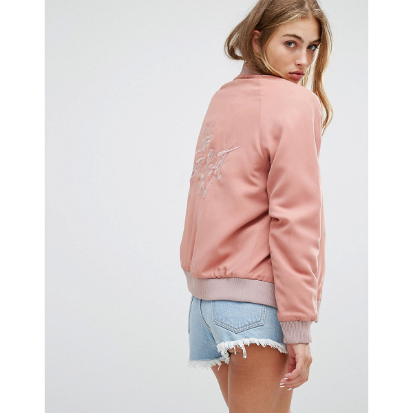 """LOVERS + FRIENDS Let's Get Lost Back Slogan Bomber Jacket - """"""""Bomber jacket by Lovers + Friends, Lined woven fabric,..."""