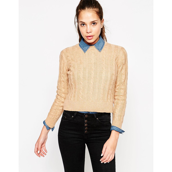 MANGO Cable knit sweater - Sweater by Mango Soft, mid-weight cable knit Crew neckline...