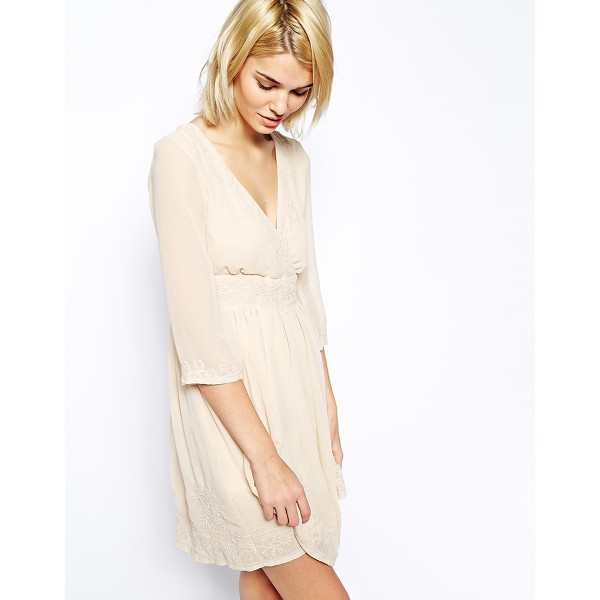 MANGO Long sleeve embroidered dress - Dress by Mango Made from a woven poly fabric V-neckline...