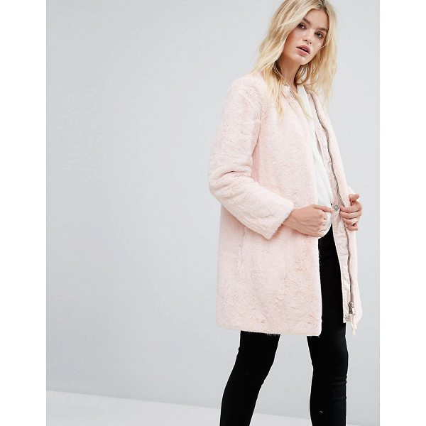MAX & CO MAX & Co Faux Pink Fur Darsena Coat - Coat by MAX Co, Faux fur, Fluffy finish, Zip fastening,...
