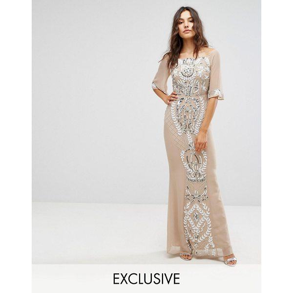 "MAYA All Over Embellished Bandeau Maxi Dress with Balloon Sleeves Fluted Sleeve - """"Maxi dress by Maya, Midweight woven fabric, Bardot neck,..."