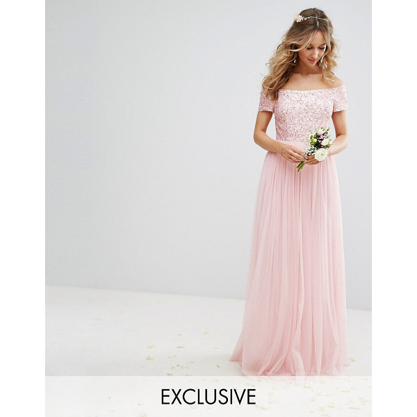 MAYA Bardot Maxi Dress with Delicate Sequin and Tulle Skirt - Maxi dress by Maya, Sequin embellished top, Bardot neck,