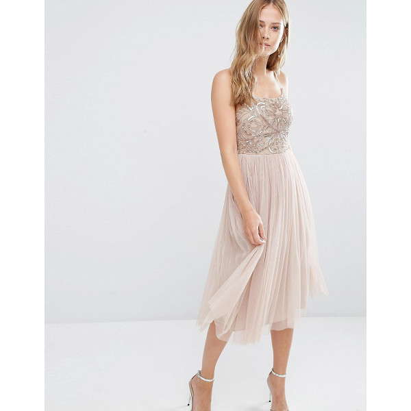 MAYA Cami Strap Midi Dress with Tulle Skirt and Embellishment - Midi dress by Maya, Mid-weight mesh, Fully lined,...